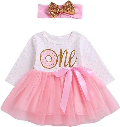 Baby Girl First BirthdayOutfit Mesh Tutu Skirt Dress Cake Smash Headband Set2-7Y