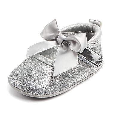 3a1a522c876ec7 Ankola Toddler Baby Girls Sequins Crib Shoe Soft Sole Bling Bowknot  Anti-Slip Prewalker Princess