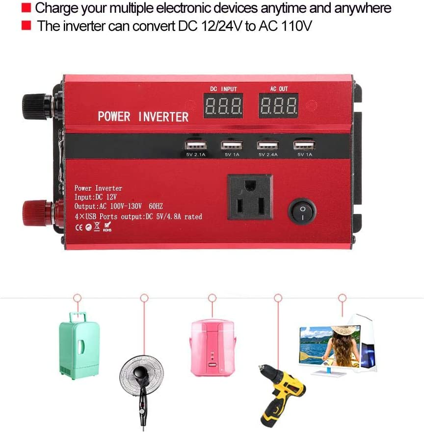 Car Power Inverter Haofy 1500W DC 12V to 110V AC Converter Dual AC Outlets and USB Charging Adapter