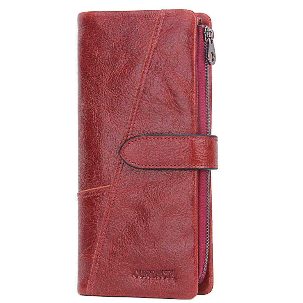 Color : Red, Size : S XINXI-MAO Cozy Mens Wallet Leather Fashion Stitching Long Wallet Retro Leather Backpack