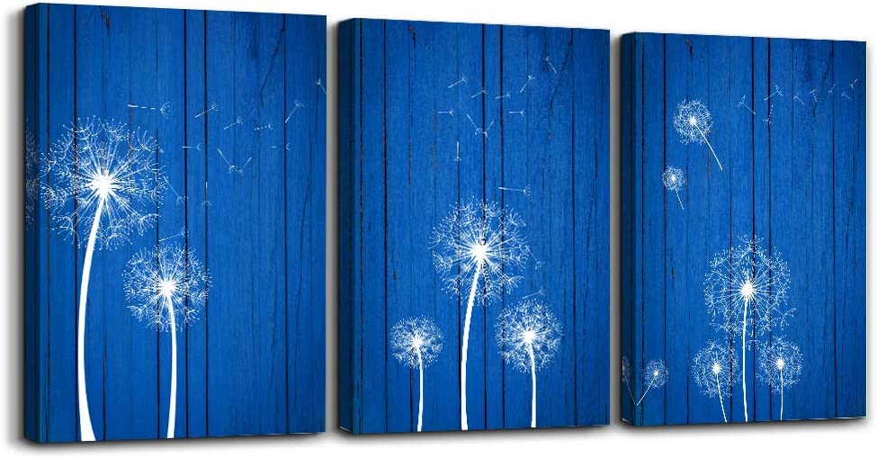 AHUAART Blue Dandelion Framed Wall Art Paintings for Living Room Canvas Print Wall Artworks Bedroom Decoration, 16x24 inch/Piece, 3 Panels Office Kitchen Bathroom Wall Decor Posters Home Decorations