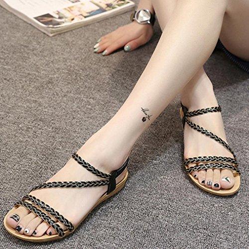 Sandalen, Yogogo Sommer Weave Sandalen Home Sandalen Strand Flat Schuhe für Damen Schwarz