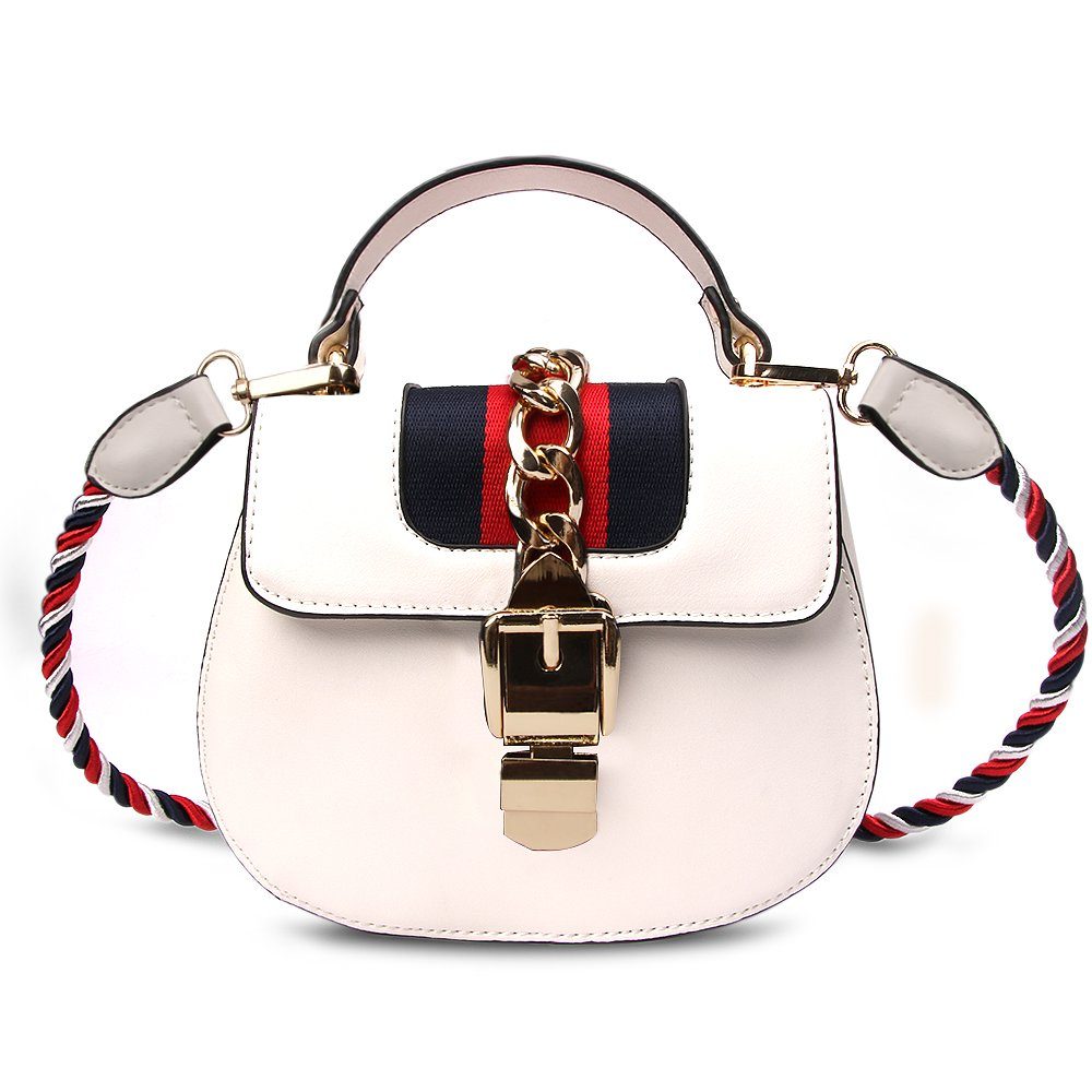 Beatfull Designer Shloulder Bag for Women, Fashion Round Handbag Crossbody Bag with Colorful Rope (white)