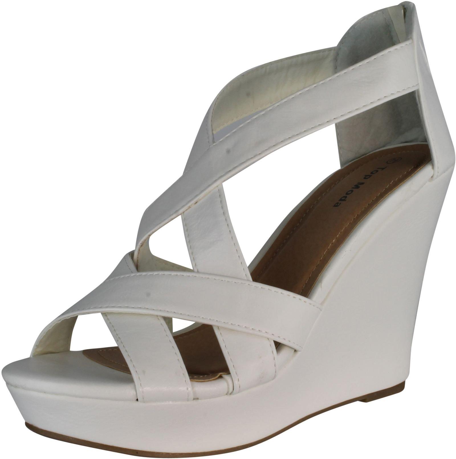 Top Moda Ella-18 Womens Gladiator Wedge Heel Sandals,White,8