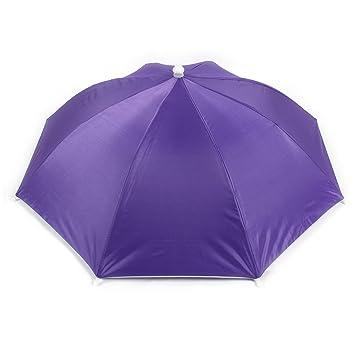 Portable negro cinta elástica púrpura dosel paraguas sombrero gorra de pesca