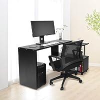 Greensen Eckschreibtisch Computertisch Winkelschreibtisch Schreibtisch Bürotisch mit Regal, 100 x 48 x 75 cm, 2 Farben, Schwarz, Weiß