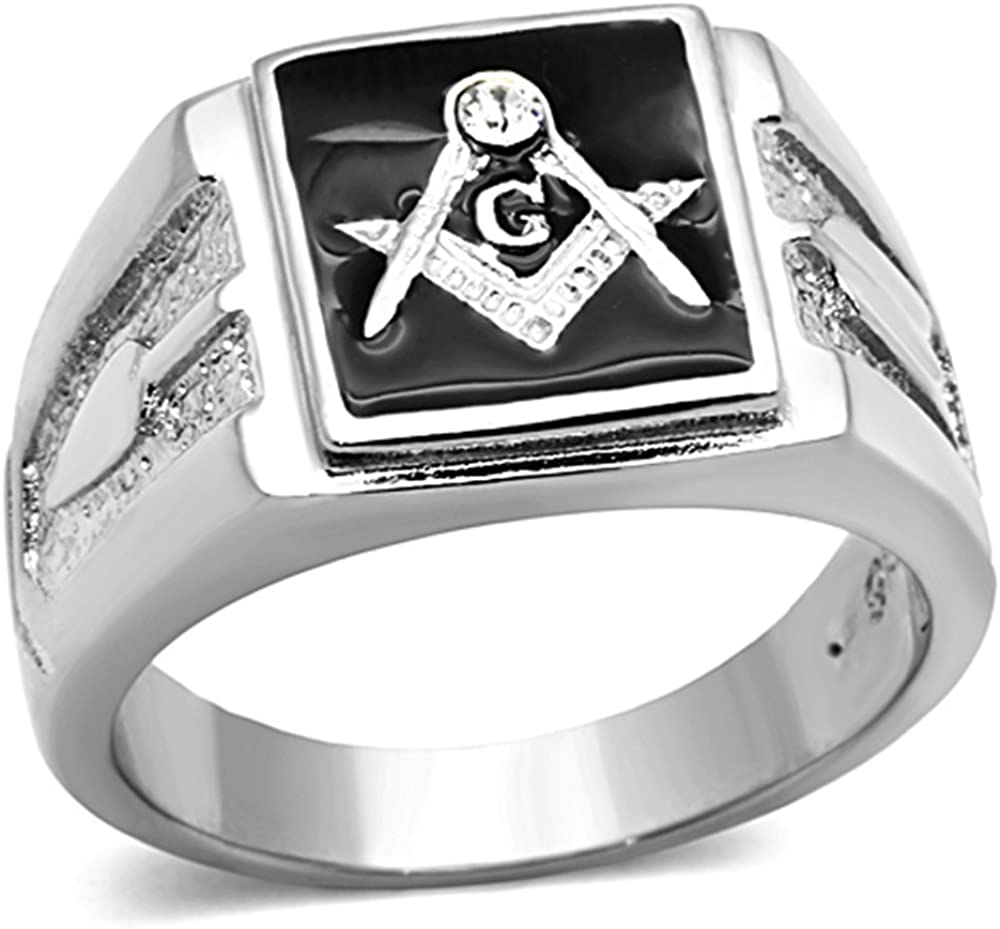 Marimor Jewelry Men's Stainless Steel 316 Crystal Masonic Lodge Freemason Ring Band Sz 8-13