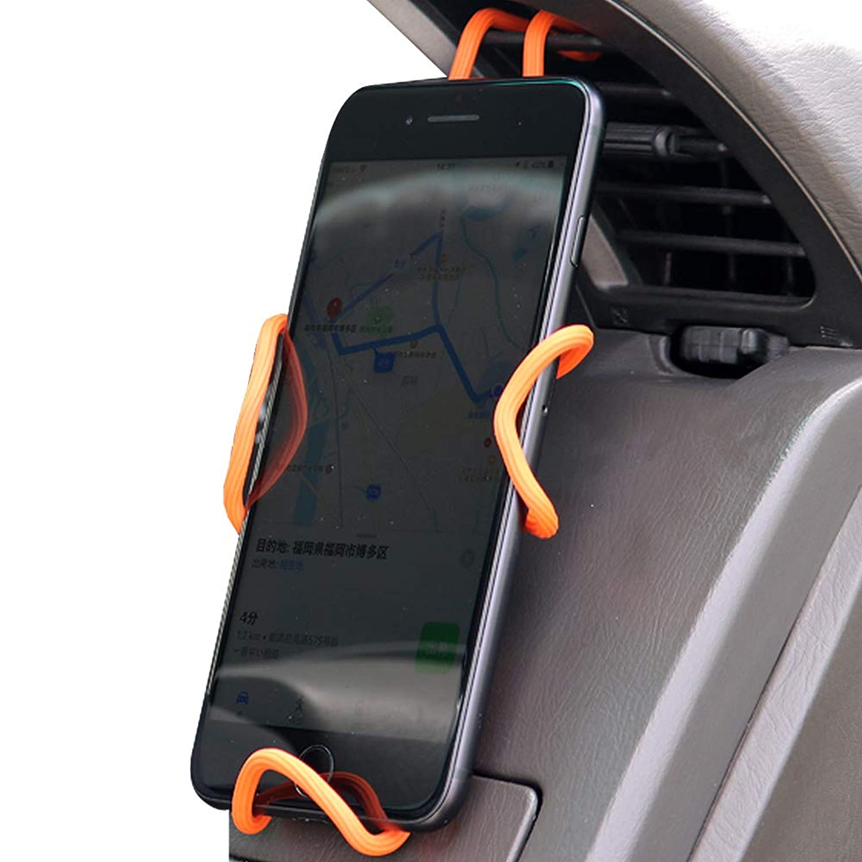KYOKA 車載ホルダー マグネット付き 360度回転 スマートフォン用 高級感 (レッド)