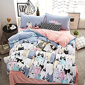 JIBUTENG Cute Cartoon Cat Duvet Cover Set,Pink Coral Velvet Bed Sheets, Teens  Girls Boys Bedding Sets Cotton Twin Size 3Pcs(Twin Flat Sheet)
