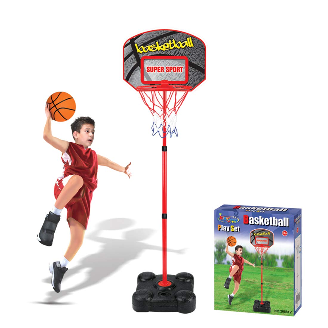 HMANE Children Adjustable Height Basketball Hoop Toys Sports Ball Games Portable Basketball Stand and Goals with Net Outdoor and Indoor by HMANE (Image #1)