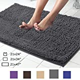 ITSOFT Non-slip Shaggy Chenille Soft Microfibers Bathroom Rugs and Bath Mat(34 x 21 Inch) with Water Absorbent, Machine Washable-Charcoalgray