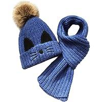 JFAN Set de Bufanda Gorro Niños Niñas Sombrero de Invierno para Niños Forro de Vellón 2-8 años Gorro de Pompón de Piel…