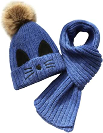 JFAN Set de Bufanda Gorro Niños Niñas Sombrero de Invierno para Niños Forro de Vellón 2-8 años Gorro de Pompón de Piel para Niños Pequeños Conjunto de Bufanda Sombreros de Punto