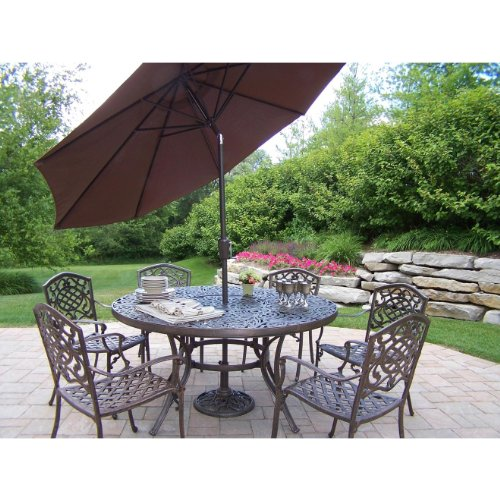 Oakland Living Mississippi Cast Aluminum 60-Inch Table with 6 Stackable Chairs, 7-Piece Dining Set Plus 9-Feet Tilting Umbrella and Stand
