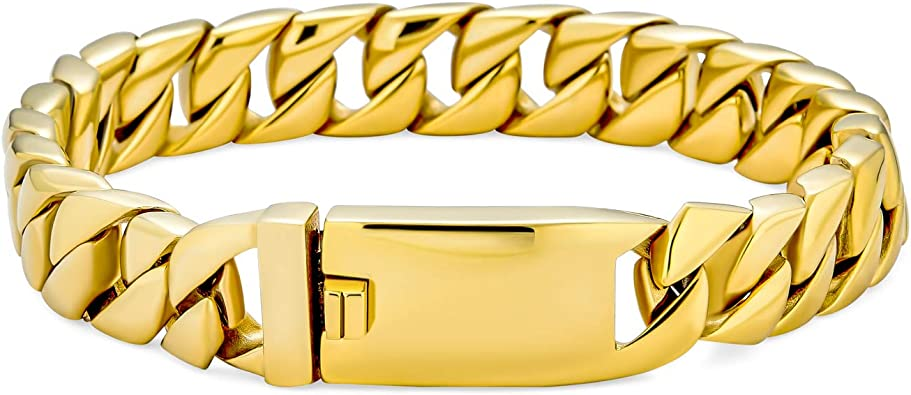 8.5 Sterling Silver yellow gold plated Miami cuban curb link mens bracelet
