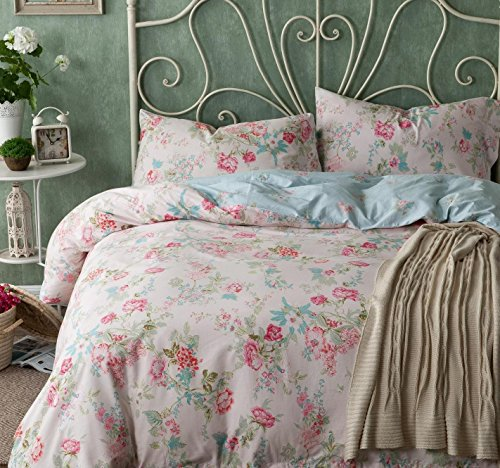 Price comparison product image FADFAY Pink Blue Duvet Cover Sets Cotton Girls Bedding Set 4-Piece Full Size
