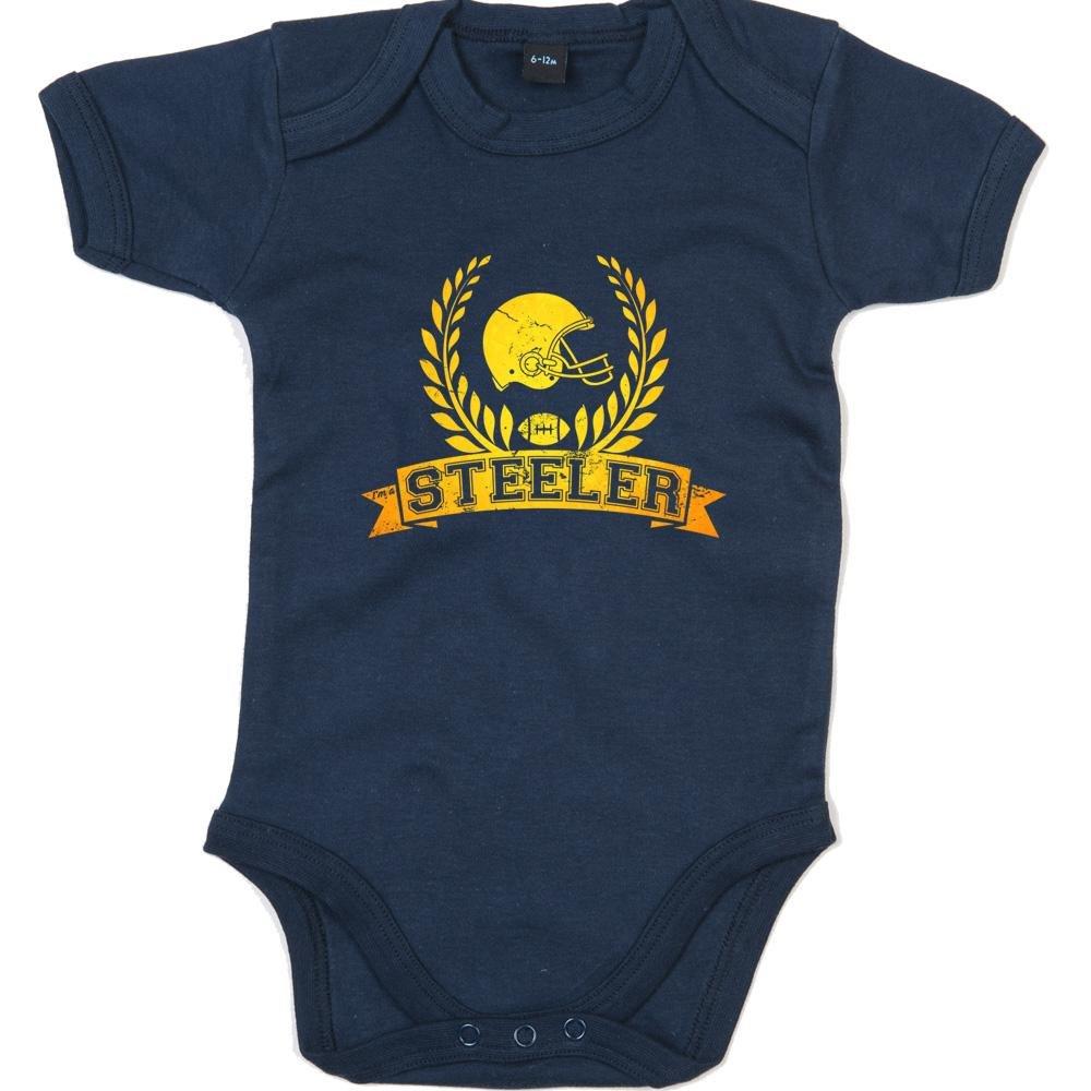 Shirt Happenz Steeler Football-Helm Premium Babybody American Football Super Bowl NFL Mä dchen und Jungen Kurzarmbody