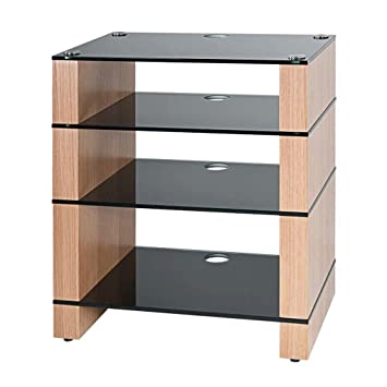 Hifi Stand, Hi Fi Rack, AV Audio Stand. Oak With Four Black