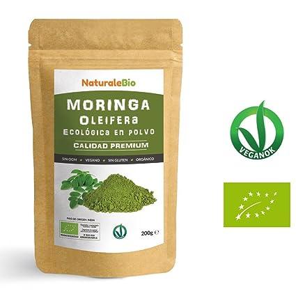 Moringa Oleifera Ecologica en Polvo [Calidad Premium] de 200g | Moringa Powder Organica,