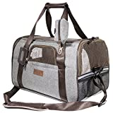 Deluxe Airline Approved Pet Carrier Under Seat - Premium Mesh Fabric Small Dog Travel Carrier - Large Cat Carriers Seatbelt Holder - Name Tag - Shoulder Strap & Bonus Pouch