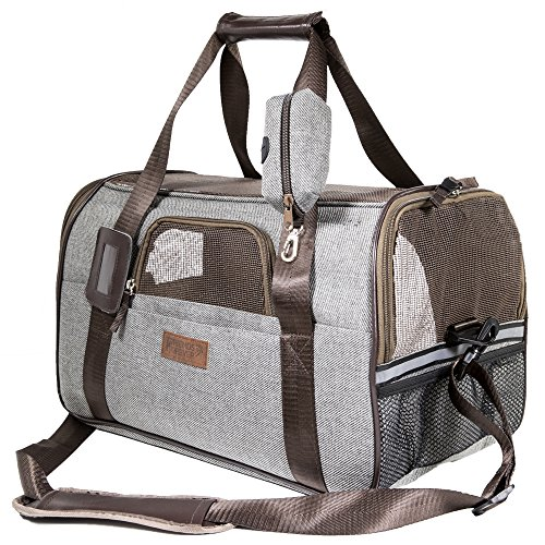 Deluxe Airline Approved Pet Carrier Under Seat - Premium Mesh/Fabric Small Dog Travel Carrier, Large Cat Carriers Seatbelt Holder, Name Tag, Shoulder Strap & Bonus ()