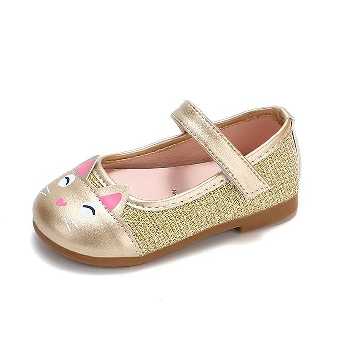 ... de Suela con Goma Zapatitos Gato Dibujos Animados Estampado Cuero Zapato Velcro Princesa Zapatillas Recién Nacido: Amazon.es: Ropa y accesorios