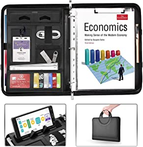 AtailorBird Padfolio, PU Leather Zippered Portfolio Folder with Phone Stand Holder & 3 Ring Binder Document Organizer for Business Interview Office, Black