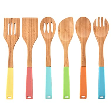 VCCUCINE Premium Durable and Long Lasting Cooking Utensils Kitchen Bamboo Spoon Spatulas, 6 Set of Bamboo Kitchen Tools with Silicone Handle