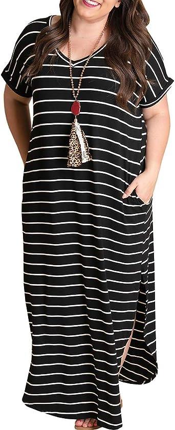 Tongmingyun Womens Plus Size Maxi Dresses Striped V Neck Short Sleeve T Shirt Casual Summer Long Dress with Pockets