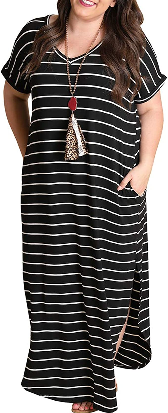 Yskkt Womens Striped V Neck Casual Maxi Dresses Plus Size Short Sleeve T  Shirt Summer Long Dress with Pockets