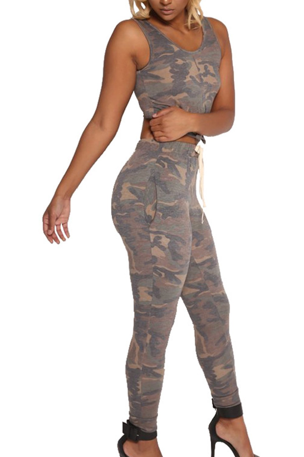 Women's Casual Camouflage Crop Top& Pants Slim 2 Pieces Suits CAFZ487