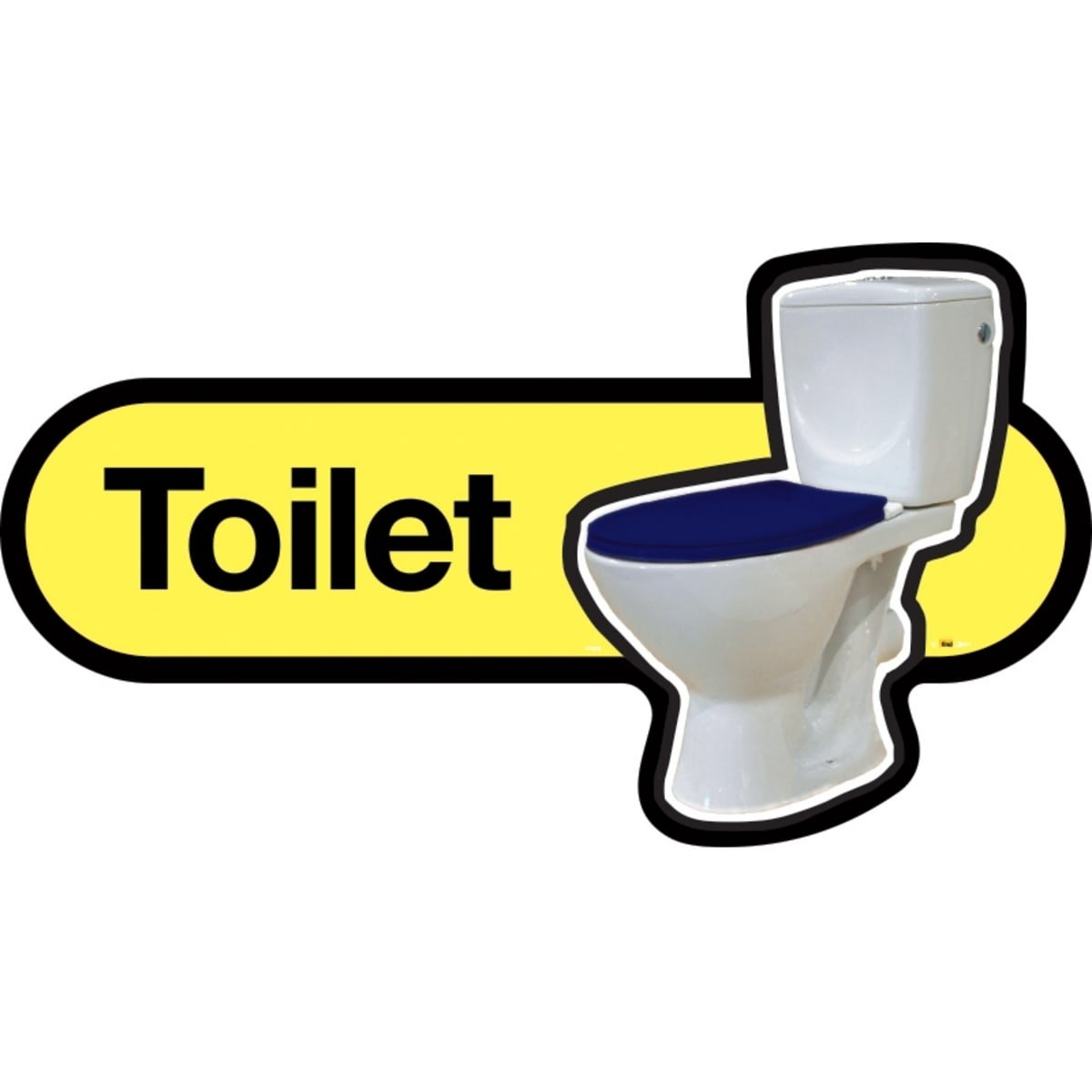 Dementia Friendly Toilet Sign - Yellow Sign with Blue seat - 480mm Wide with Screw Fix by Dementia Friendly