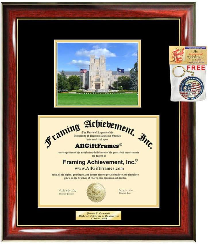 Amazon Com Diploma Frame Virginia Tech University Graduation Gift Idea Engraved Picture Frames Engraving Vt Degree Graduate Bachelor Masters Mba Phd Doctorate School