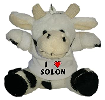 Vaca de Peluche (Llavero) con Amo Solon en la Camiseta (Nombre de Pila