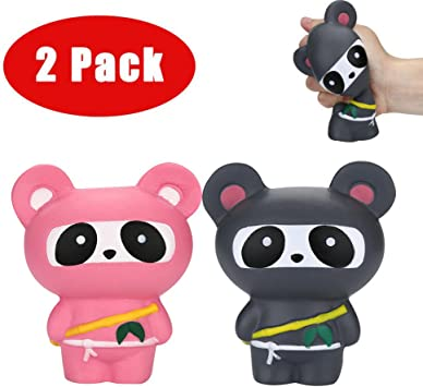 Amazon.com - FILOL 2Pcs Squishies Kawaii Ninja Panda Toy ...