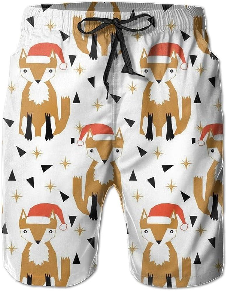 Christmas Fox Mens Printing Quick Dry Beach Board Shorts Swim Trunks