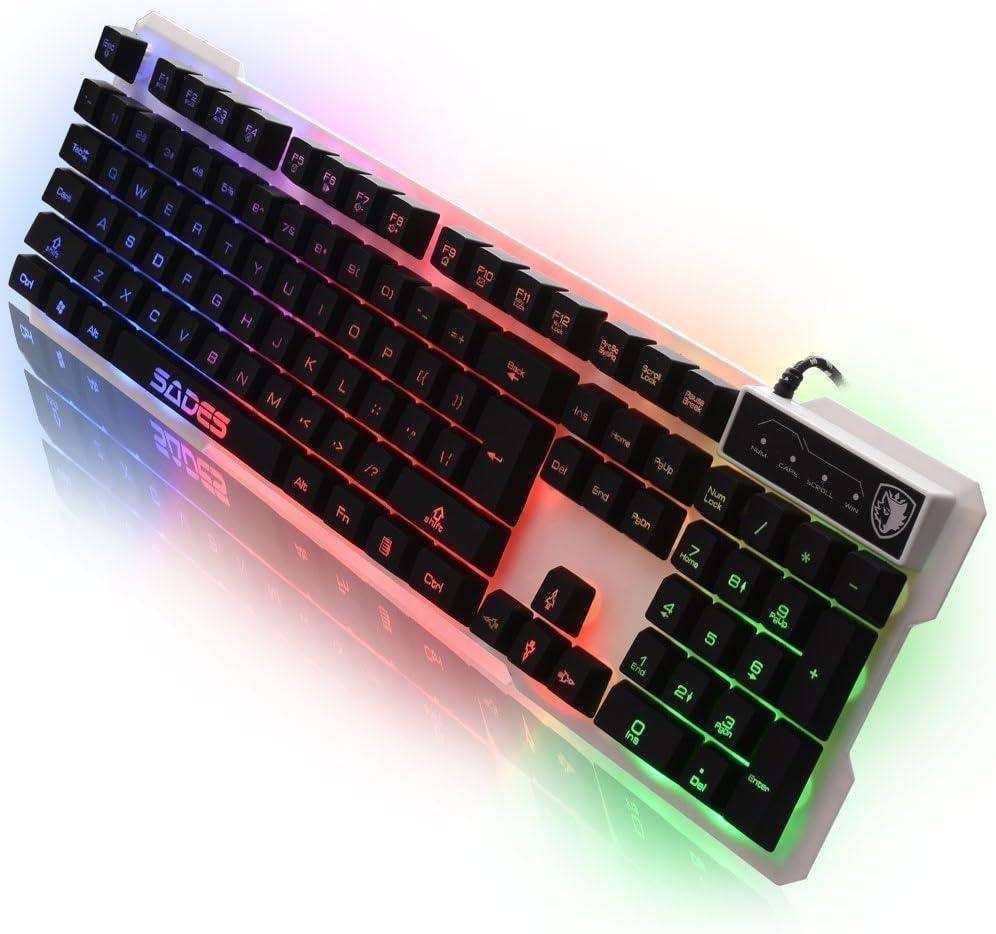 Sades K7 Gaming Keyboards Teclado para Juegos USB 7 Colores de retroiluminaci¨®n conmutable, 104 Claves (Blanco)