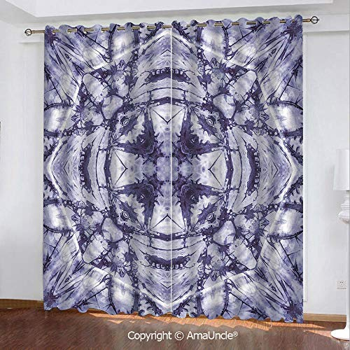 3D Printed Blackout Curtains,Tie Dye Decor,Modern Form Generated by Resisting Twisting Fractal Saturated Effects,Lilac Purple Pattern,W84.3xL84.3 Inches,Window Treatments for Bedroom