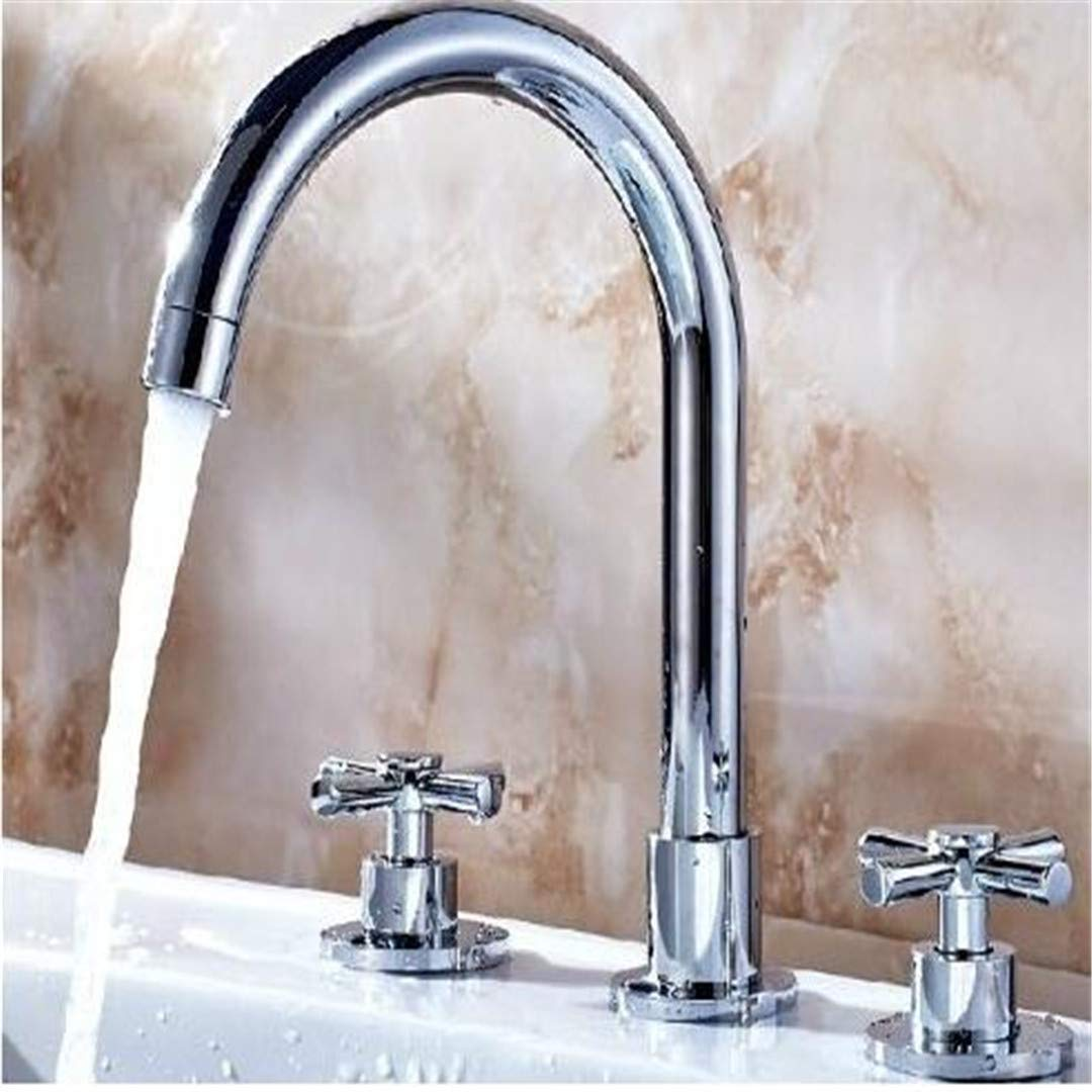 Bathroom Basin Faucet Kitchen Faucet Hot and Cold Taps Crossdouble Handles Bathroom Mixer Tap Chrome Brass Three Holes Sink Basin Faucet