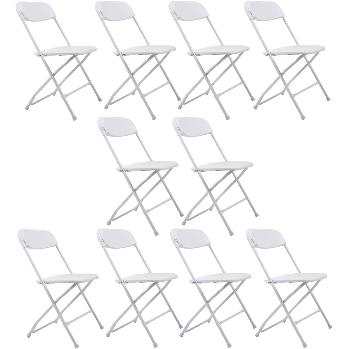 LAZYMOON 10 PCs White Plastic Folding Chairs Commercial Quality Stackable Outdoor Event Wedding Party Chairs