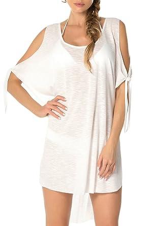 6e718806cc Chvity Women s Cold Shoulder Cover-up Swimwear Kaftan Swimsuits for Bikini  (White