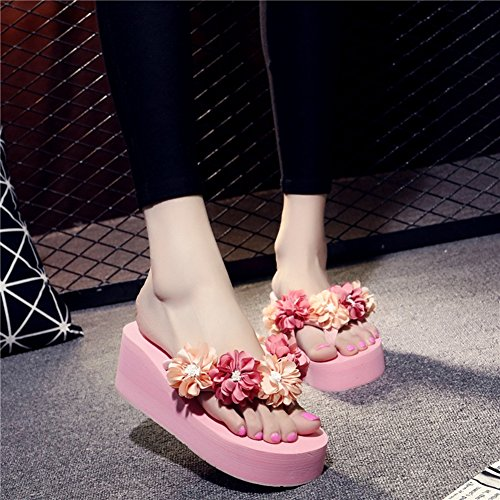 Flops JULY Ladies Flowers Handmade Thong Platform Womens Girls T with Sandals Wedge Pink Sandals Slippers Flip 4FwqYn