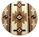 Southwest Native American Indian Ivory Area Rug Design #CR587 (5 Feet X 5 Feet Round)