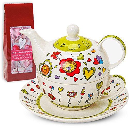 Teekannen-Set Tea For One Teekanne mit Tasse und Untersetzer Blumen / Herzen grün 17x13 cm im Geschenkkarton