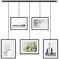 Umbra Exhibit Picture Frame Gallery Set Adjustable Collage Display for 5 Photos, Prints, Artwork & More (Holds Two 4 x 6…
