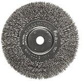 Weiler Trulock Narrow Face Wire Wheel Brush, Round Hole, Stainless Steel 302, Crimped Wire, 6'' Diameter, 0.0104'' Wire Diameter, 5/8-1/2'' Arbor, 1-7/16'' Bristle Length, 3/4'' Brush Face Width, 6000 rpm
