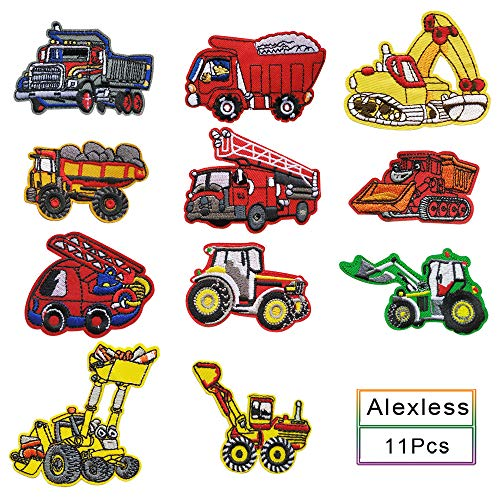 Alexless 11 Pcs Heavy Truck/Fire Truck/Excavator/Bulldozer Decorative Appliques Iron on Patchs for for Kids Jacket Jeans Decoration, Clothing ()