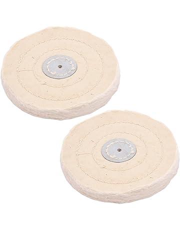 Sourcingmap a14103000ux0093 Almohadilla de algod/ón polaca redonda rueda de pulir 1//2 pulgadas x 6 pulgadas 50 capas blanco