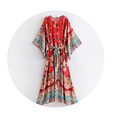 2fa5523ce COOCOl Red Floral Print Bat Sleeve Beach Bohemian Dresses Kimono V Neck  Tassel Summer Boho Dress