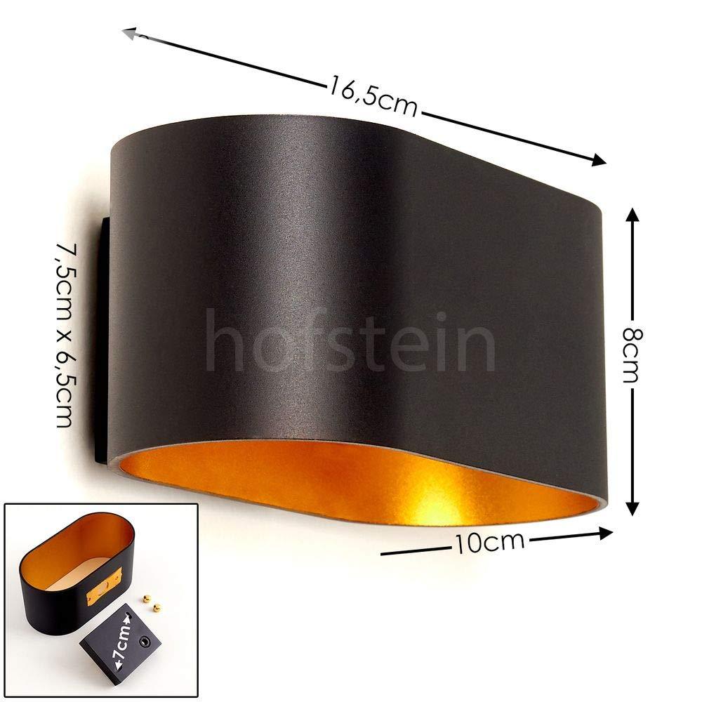 Innenwandleuchte mit Up /& Down-Effekt max 1 x G9-Fassung moderne Wandleuchte mit Lichteffekt 40 Watt Wandlampe Dapp aus Metall in Schwarz//Gold geeignet f/ür LED Leuchtmittel